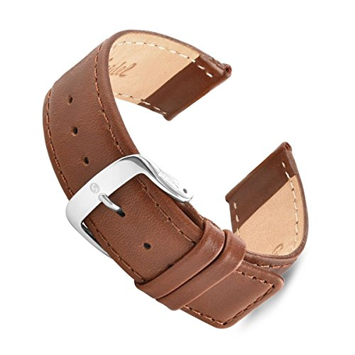 Leather Square Tip Watch Band 20mm Brown Speidel