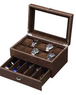 BEWISHOME Watch Box Luxury Watch Case -10 Slots
