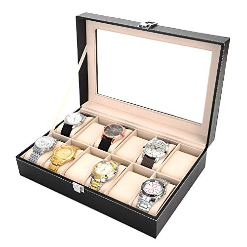 12 Slots Watch Box Leather Organizer and Display Case with Glass Lid