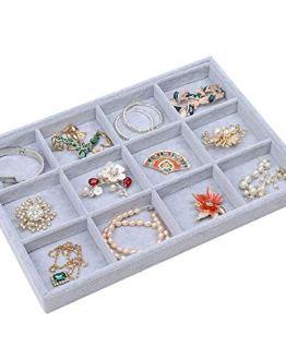 Stylifing Grey Velvet 12 Grid Jewelry Tray Showcase