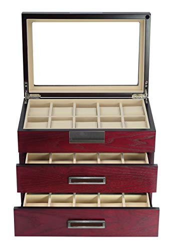 TimelyBuys Luxury 30 Cherry Wood Watch Box Display Case