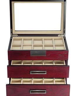 TimelyBuys Luxury 30 Cherry Wood Watch Box Display Case