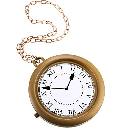 Gold Clock Necklace White Rabbit Clock Hip Hop Rapper Clock