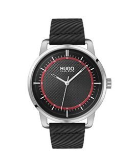 Hugo Boss Black Stainless Steel Quartz Watch with Leather Strap