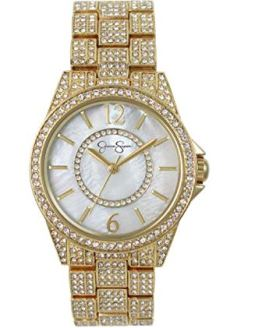 Jessica Simpson Women's Crystal Encrusted Stainless Steel