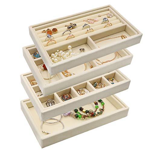 Velvet Jewelry Organizer Tray Stackable, Jewelry Storage
