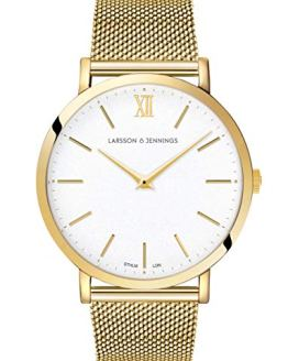 Larsson Jennings Watch with 40mm Satin White dial and Gold Plated