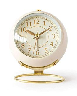 Non-Ticking Tabletop Alarm Clock Battery Operated Desk Clock