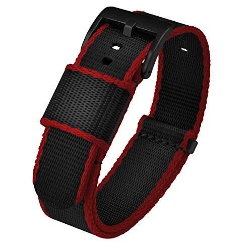 BARTON Jetson 24mm Black / Crimson NATO Style Watch Strap