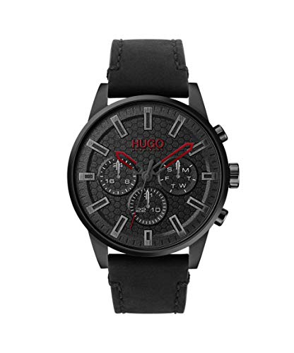 Black Men's Hugo Boss Watch with Leather Calfskin Strap