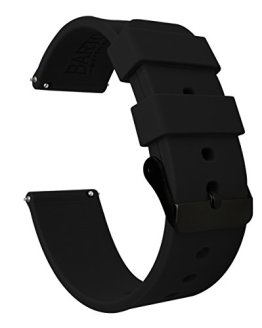 Black Buckle Watch Bands - Soft Silicone Quick Release