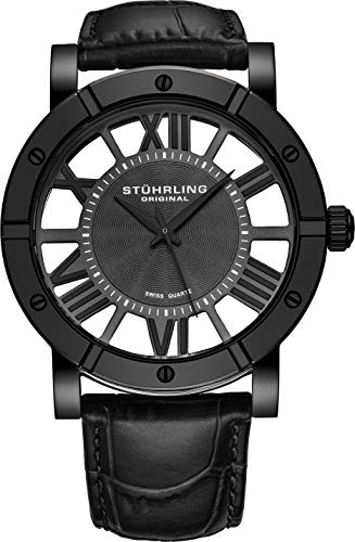 Stuhrling Original Black PVD Mens Watch Red Leather Strap