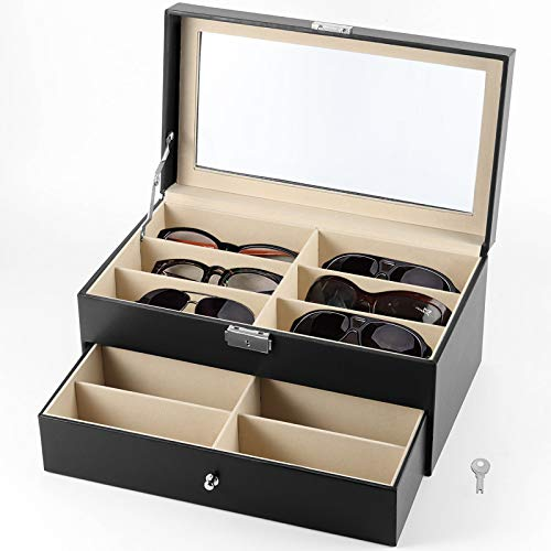 12 Slots Lockable Drawer Collection Holder PU Leather Display Case