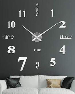 Large 3D Frameless Wall Clock Stickers