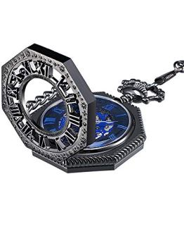 Mudder Vintage Mechanical Hand-Wind Skeleton Pocket Watch