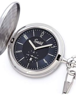 Navy Blue Dial Silver-Tone Engravable Pocket Watch