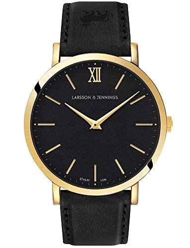 LJXII Lugano Watch with 40mm Black dial and Black Leather Strap