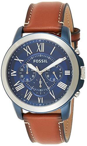 Grant Quartz Leather Chronograph Watch Fossil Men's