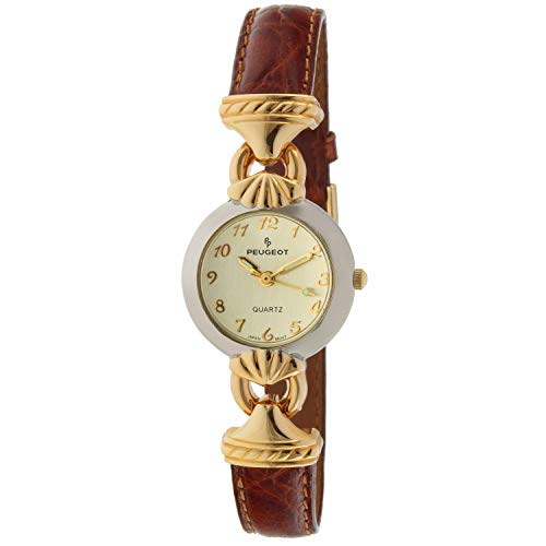 Watch with Arabic Numerals and Gold Hinge Peugeot Women