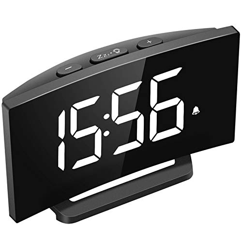 Mpow Desk Shelf Clocks, LED Alarm Clocks, 5'' Curved LED Screen