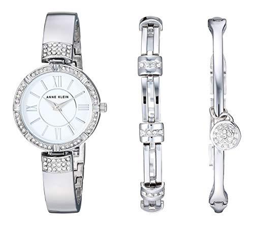 Swarovski Anne Klein Silver-Tone Bangle Watch and Bracelet Set