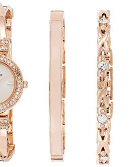 Anne Klein Women's Crystal Accented Bangle Watch