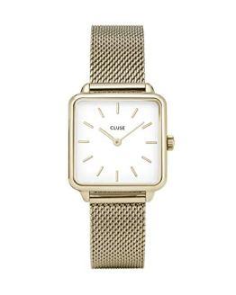 CLUSE LA TÉTRAGONE Gold Mesh White Women's Watch
