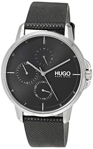 HUGO Watch with Leather Strap, Black