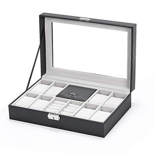 NEX Watch Cases for Men, 8 Slots Lockable Watch Box Organizer