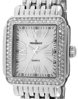 Peugeot Rectangle Dress Watch with Crystal Decorated Bezel