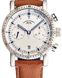 Muhle Glashutte Chronograph Automatic Watch Silver Dial with Blue Luminous