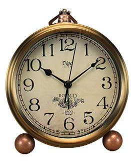 Retro Vintage Golden Table Clock Non-Ticking
