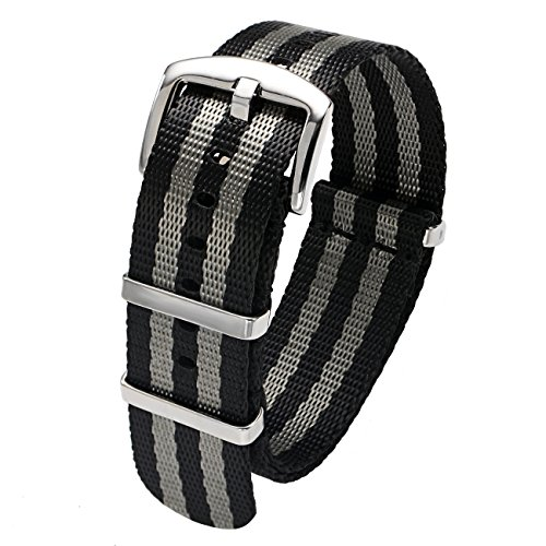 20mm Black and Gray Watch Strap Heavy Duty