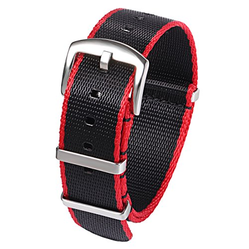 20mm Black Red Military G10 Watch Band Replacement Watch Strap