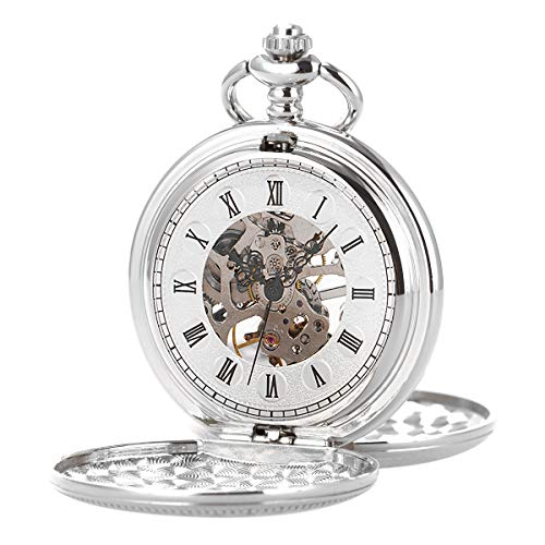 Skeleton Mechanical Movement Silver Chain Pocket Watch