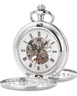 Skeleton Mechanical Movement Silver Chain Pocket Watch