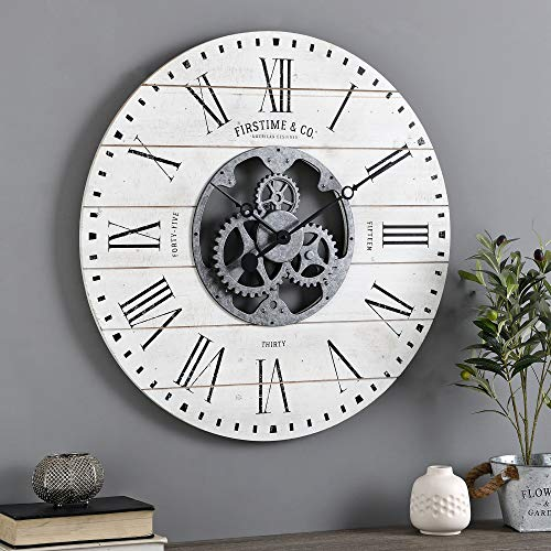 Shiplap Gears Wall Clock White
