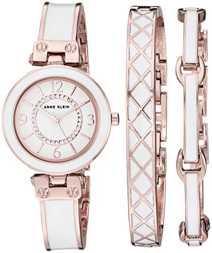 Rose Gold-Tone and White Bangle Watch and Bracelet Set Anne Klein
