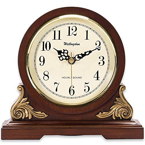 "TXL Mantel Clock with Chimes 8.3"" Silent Decorative Wood Desk"