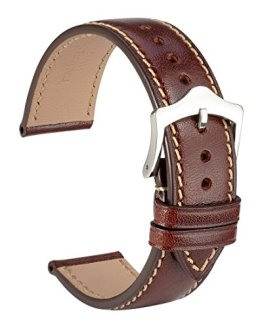 WOCCI 18mm Watch Band,Sports Style Full Grain Leather