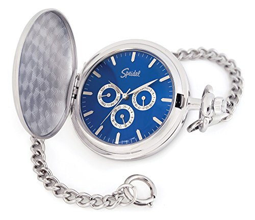 """Speidel Classic Smooth Pocket Watch with 14"""" Chain Silver Tone"""