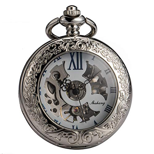 SIBOSUN Magnifier Pocket Watch with Chain Box Skeleton