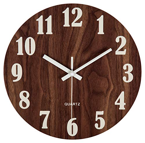 Night Light Round Wall Clock Vintage Rustic Country