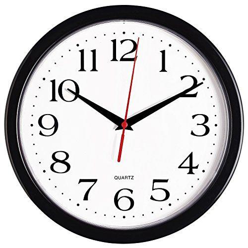 Black Wall Clock Silent Non Ticking Clock