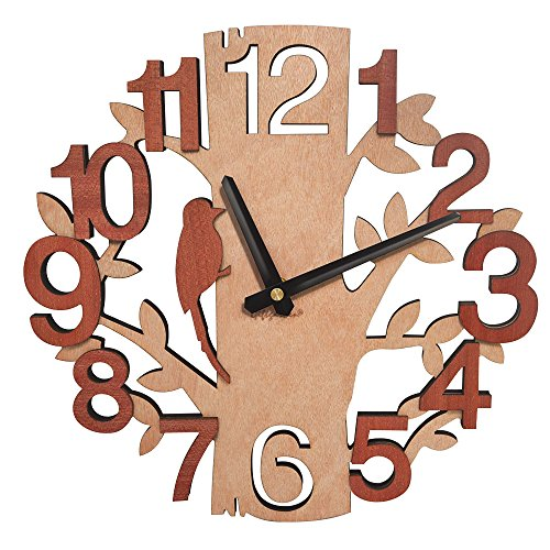 Tree Shaped Wall Clock Wood