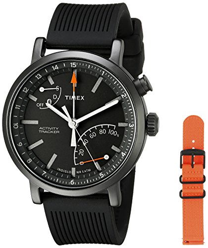 Black Silicone and Orange Nylon Straps Timex Smartwatch