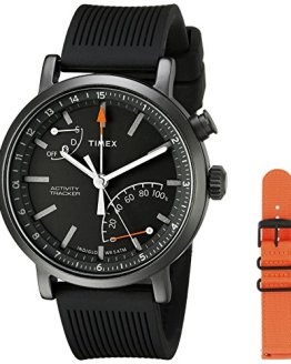 Black Silicone and Orange Nylon Straps Timex Smartwatch