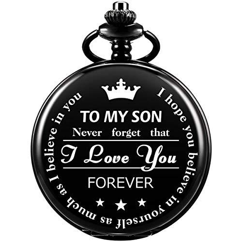 SIBOSUN Pocket Watch Men Chain Fob Quartz Engraved