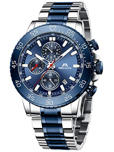 MEGALITH Mens Watches with Stainless Steel Waterproof