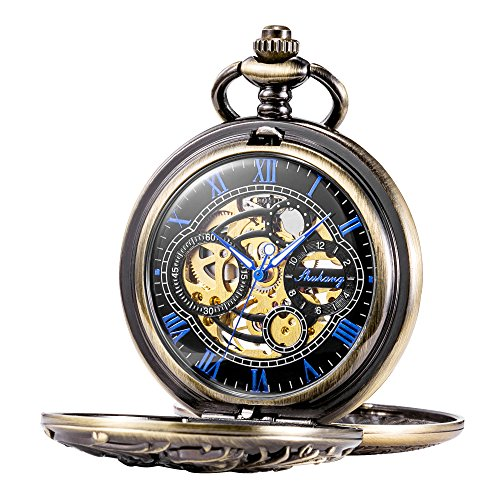 Dragon Mechanical Skeleton Pocket Watch with Chain